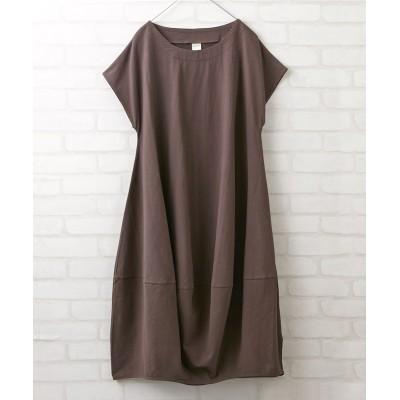 ゆったり裾切替バルーンシンプルワンピース (ワンピース)Dress