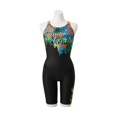ミズノ 女性用競泳水着 ハーフスーツ(ブラック×グリーン・サイズ:M) mizuno (FINA承認) N2MG074293M 返品種別A