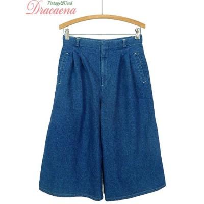 古着屋 レディース パンツ デニム シンプル ブルー ミドル丈 スーパー ワイド パンツ 古着