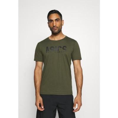 アシックス メンズ スポーツ用品 KATAKANA GRAPHIC TEE - Print T-shirt - smog green/performance black