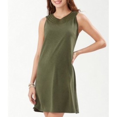 トッミーバハマ レディース ワンピース トップス Pearl Embroidered Sleeveless Cotton Blend Shift Dress Palm Verde