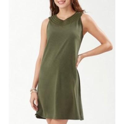 トッミーバハマ レディース ワンピース トップス Pearl Embroidered Sleeveless Cotton Blend Shift Dress Palm Verde