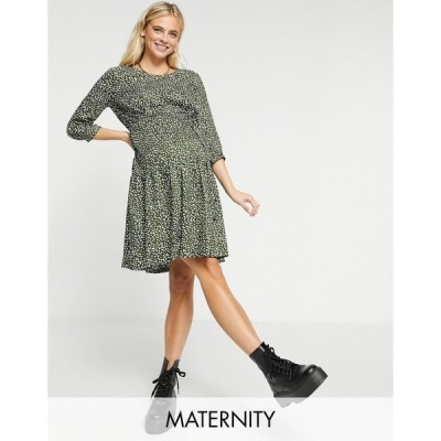 ママライシアス レディース ワンピース トップス Mamalicious Maternity smock dress with removeable tie waist in green spot print Green spot