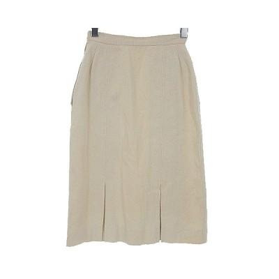 【中古】レオナール LEONARD FASHION シルク タイト スカート ひざ丈 膝丈 絹100% ボックスプリーツ ロゴ 刺繍 アイボリー 白系 60-88 【ベクトル 古着】