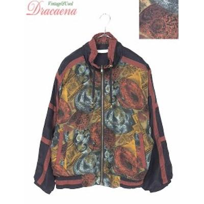 レディースジャケット古着 西洋調 アート 総柄 フルジップ ドルマンスリーブ シルク100% ブルゾン ジャケット 18lfe09f