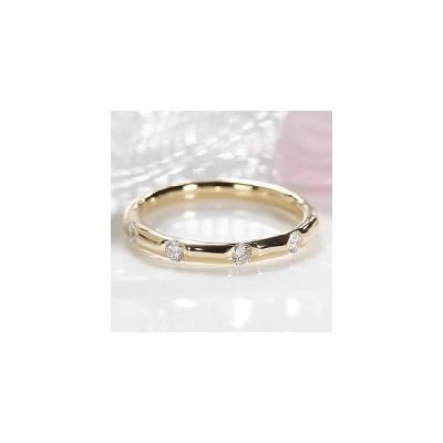 指輪 レディース ダイヤモンド リング エタニティ K18YG ドット ゴールド 0.25ct CSR0146-18Y