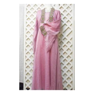 レディース マキシ丈 中東エレガント民族衣装 長袖 結婚式ドレス ガラベイヤ イスラムドレス ピンク エジプト