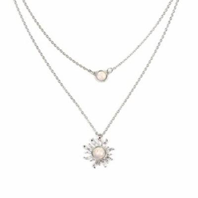 ネックレス HUNO ダブルチェーン 月と太陽の層付きチョーカーネックレス ひまわりオパールペンダントネックレス 女性へのギフトに