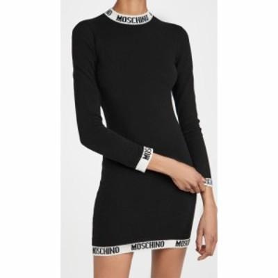 モスキーノ Moschino レディース ワンピース ニット ロゴ ワンピース・ドレス Knit Logo Dress Fantasy Print Black