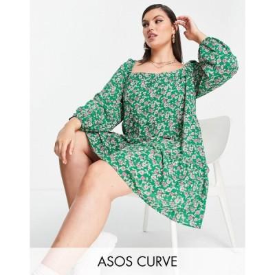 エイソス ドレス 大きいサイズ レディース ASOS DESIGN Curve square neck tiered mini dress in green floral print エイソス ASOS グリーン 緑