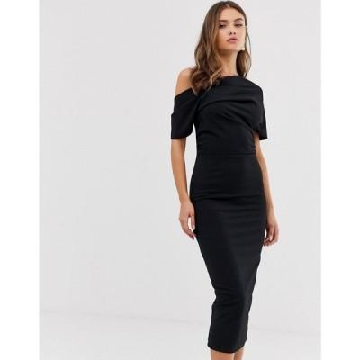 エイソス ASOS DESIGN レディース ワンピース ペンシル ワンピース・ドレス pleated shoulder pencil dress in black ブラック