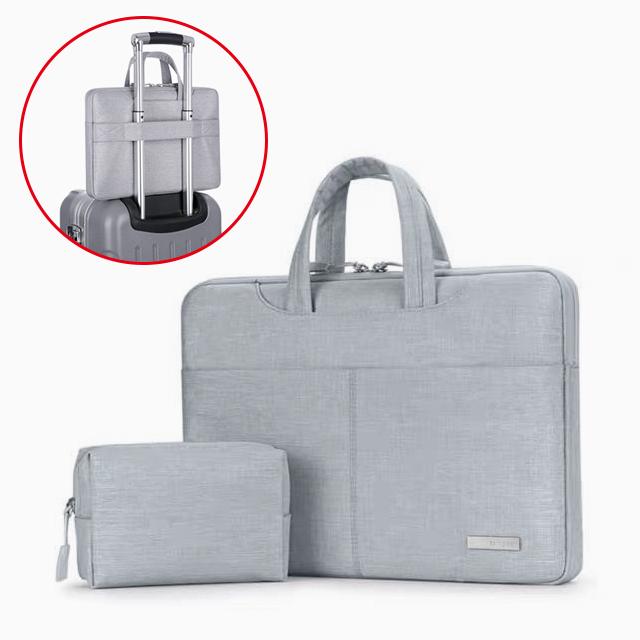 BRINCH 13.3吋 隱藏式手提電腦包 筆電包 保護套-淺灰色