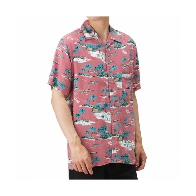 (MAC HOUSE(men)/マックハウス メンズ)レーヨン アロハシャツ 031037MH/メンズ ヤシの木ピンク
