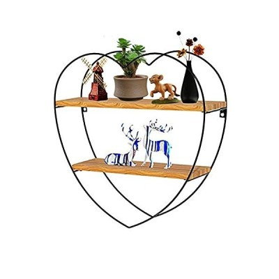 Wood Floating Shelves, 2 Tiers Heart Hanging Shelves for Wall,Wall Mounted Shelf for Bedrooms, Living Room,Bathroom,Kitchen and Office Decor