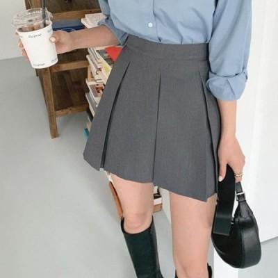 レディース スカート Nowadays three pleats mini skirt
