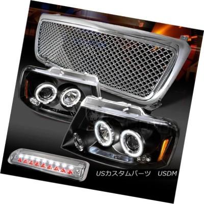 ヘッドライト 04-08 F150ブラックハローLEDプロジェクターヘッドライト+ Chr   omeメッシュグリル+ LED