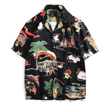 メンズ アロハシャツ 総柄 ハワイアン ボタン 夏 祭 海 アウトドア 半袖 椰子 ボーダー 花柄 M L LL XL 3L 全店2点送料無料