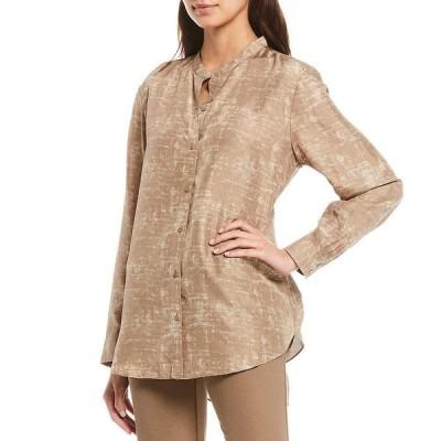 エイリーンフィッシャー レディース シャツ トップス Shadow Print Silk Mandarin Collar Long Button Front Shirt Driftwood