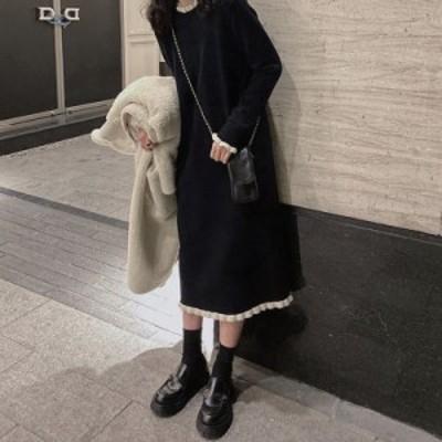 ニットワンピース レディース 40代 秋冬 マキシ丈ワンピース 長袖 ニットワンピース  結婚式ドレス 上品  通勤 韓国風 ゆったり