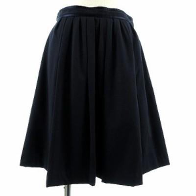 【中古】ヒアーズ HERE'S スカート ギャザースカート ひざ丈 ストレッチ 切替 総裏地 ネイビー 紺 38 レディース