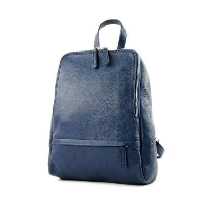 modamoda de - ital. Leather Backpack Ladies Backpack Rucksack Bag Citybag Leather T138, Colour:Jeans blue 並行輸入品