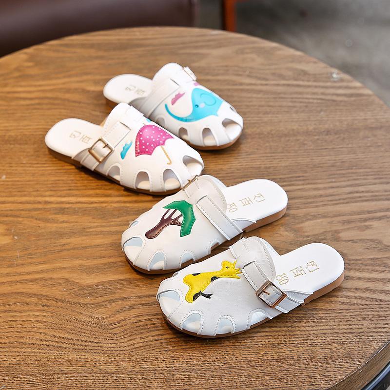 兒童拖鞋 新款可愛卡通動物包頭女童防滑軟底鞋 中大童涼拖鞋【IU貝嬰屋】