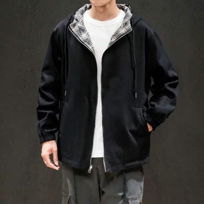 KOGARASI ジャケット メンズ ウインドブレーカー リバーシブル チェック柄 無地 トレンチコート ゆったり フード付き 防風 アウタ