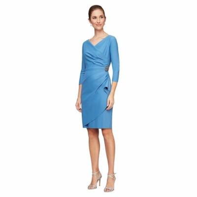 アレックスイブニングス ワンピース トップス レディース Short Scuba Sheath Dress with 3/4 Sleeves Sky Blue