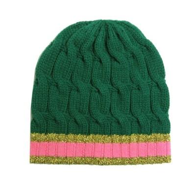 GUCCI BEANIE KNIT CAP バイカラーラメデザイン ニット帽 ビーニー グリーン サイズ:M (神戸元町店) 210214