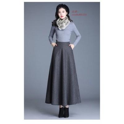 ロングスカート 秋 冬 大きいサイズ ゆったり フレアスカート 裏地あり 柄 レディースマキシ丈