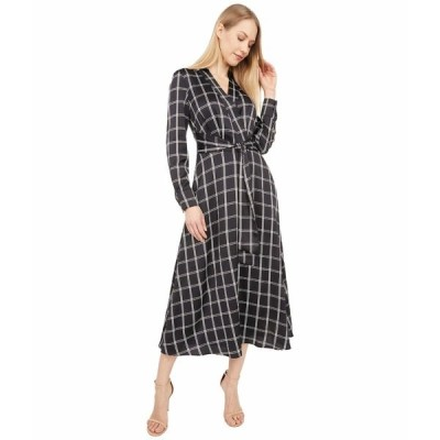タハリ ワンピース トップス レディース Surplus Plaid Shirtdress with Tie Waist Black Windowpane