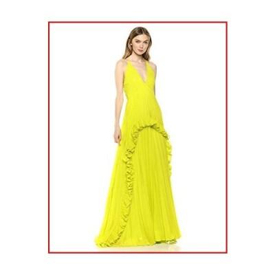 【新品】HALSTON Women's SL Halter V-Neck Pleated Gown, Lime, 4【並行輸入品】