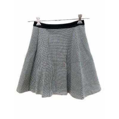 【中古】マルティニーク martinique スカート フレア ミニ 総柄 黒 ブラック 白 ホワイト /AU レディース