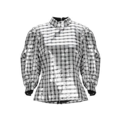 GANNI チェック柄シャツ  レディースファッション  トップス  シャツ、ブラウス  長袖 シルバー