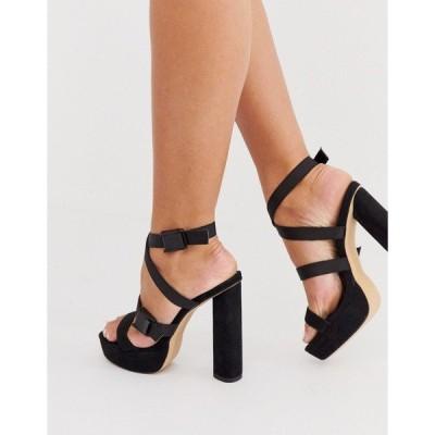 ロンドンレベル レディース ヒール シューズ London Rebel platform sandals in black Black micro