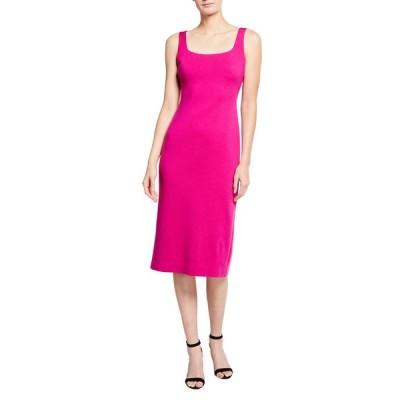 セント ジョン コレクション レディース ワンピース トップス Milano Knit Square-Neck Dress with Back Slit