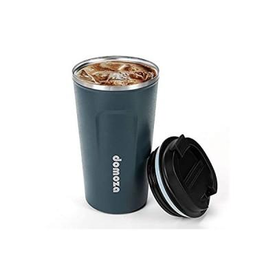 domoza コーヒーカップ 蓋付き ステンレス製 タンブラー 断熱 保温 ブルー 380