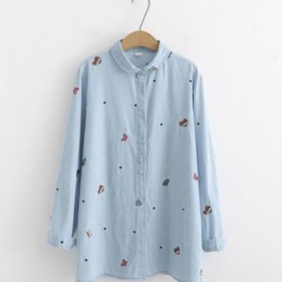 長袖シャツ レディースシャツ 可愛い 刺繍 トップス Tシャツ シャツ ブラウス コーデ レディースシャツ ゆったり お洒落 通勤 通学