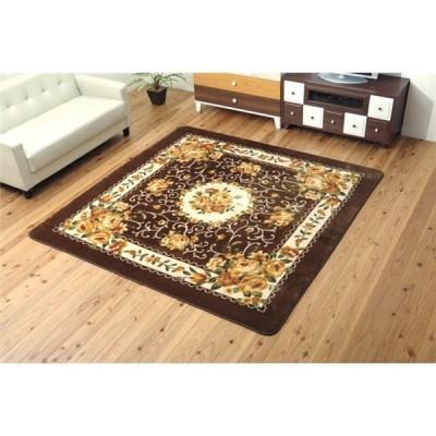 ふっくら エレガント ラグマット 絨毯 ブラウン 約200×300cm 洗える 床暖房・ホットカーペット対応