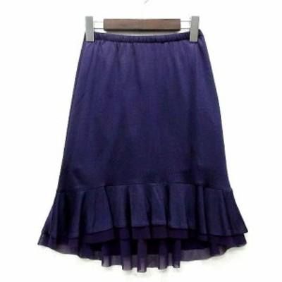 【中古】ナパータメロエ NAPATA MELLOE さえら マーメイド スカート 膝丈 フリル 裾チュール イレヘム パープル 紫 3 美品 レディース