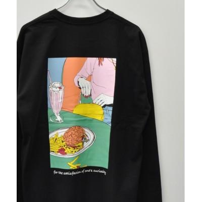 tシャツ Tシャツ フロント メッセージプリント パック イラストプリント ロングTシャツ