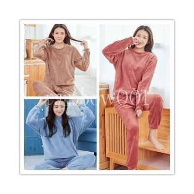 ルームウェア 上下セット もこもこ レディース パジャマ フリース 厚手 ゆったり 可愛い 冬 部屋着 長袖 長ズボン 寝巻き 暖かい 防寒 おしゃれ
