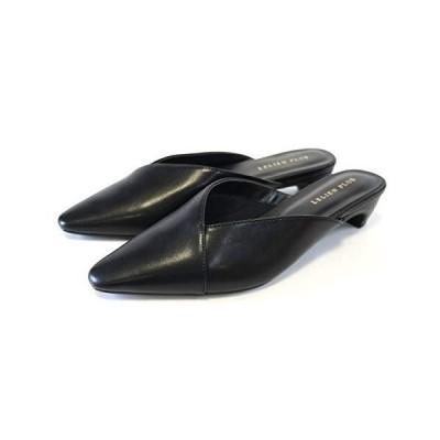 [アミアミ] Vカット スクエアトゥ ミュール サンダル ローヒール レディース CX10119 (L(23.5cm〜24.0cm) ブラック(スムー