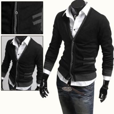 Allegra K メンズ カーディガン シンプル セーター ニット Vネック 長袖 ビジネス ブラック S /36