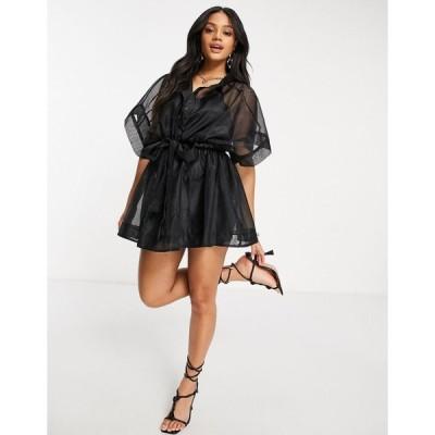 アイソウイット ミディドレス レディース I Saw It First belted wide sleeve mesh shirt dress in black  エイソス ASOS sale ブラック 黒