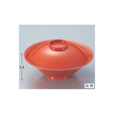 煮物椀 5.3寸平富士煮物椀総洗朱 漆器 高さ54 直径:161/業務用/新品