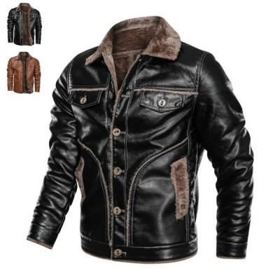 レザージャケットライダース裏起毛 裏ボアメンズ コート極暖!ジャケット ブルゾン 革ジャン 大きいサイズあり 厚手 防風 防寒バイク用冬物