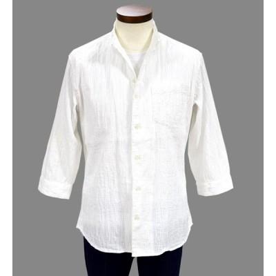 【SALE】30%OFF イタリアンカラーシャツ スタンドカラー 七分袖 メンズ NICOLE CLUB FOR MEN イタリアンカラーシャツ  ブリックスモノ