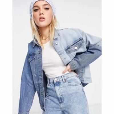 モンキ Monki レディース ジャケット デニムジャケット アウター Bonnie organic cotton denim jacket in colour block co-ord blue ブル
