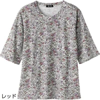 5分袖花柄Tシャツ [全3色]